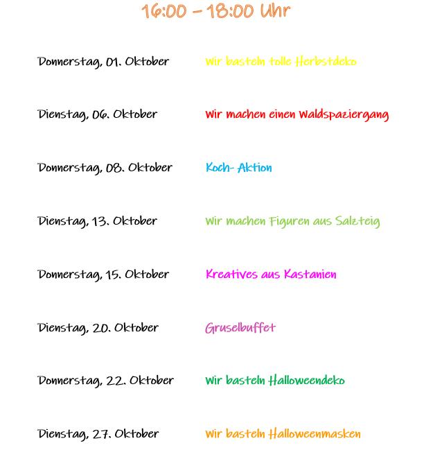 Kindernachmittage im Oktober