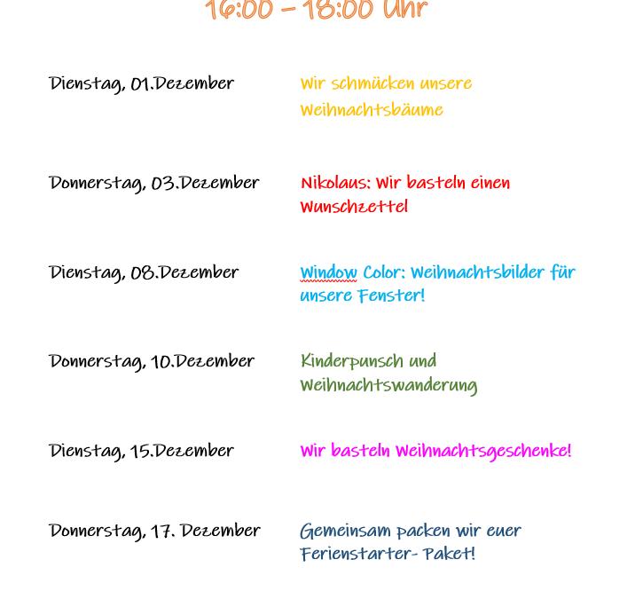 Unsere Angebote an den Kindernachmittagen im Dezember