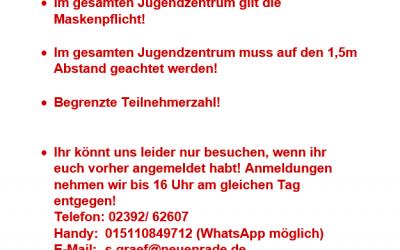 Neue Pandemie-Regelungen im JUZ!