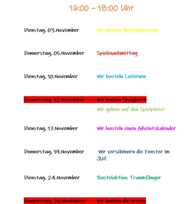 Unsere Angebote an den Kindernachmittagen im November